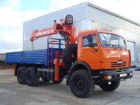 Аренда манипулятора-вездехода Камаз 43118 с грузоподъёмностью стрелы 6 тонн и грузоподъёмностью кузова 7 тонн