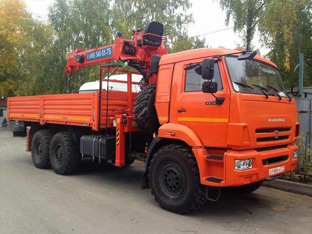 Аренда манипулятора-вездехода Камаз с грузоподъёмностью стрелы 6 тонн и грузоподъёмностью кузова 7 тонн